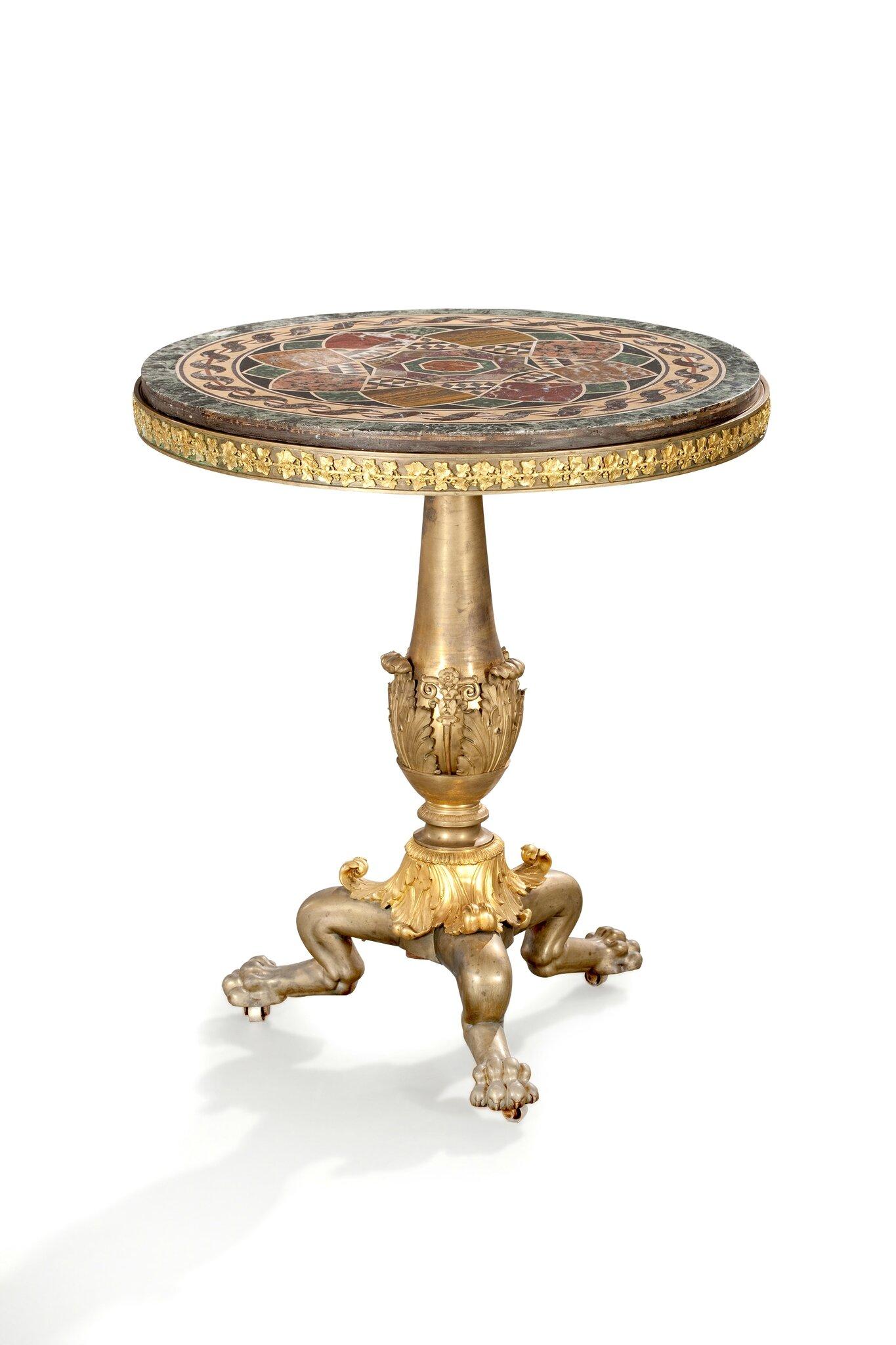 Rare guéridon en bronze ciselé, doré ou patiné, attribué à Pierre-Philippe Thomire, Epoque Restauration