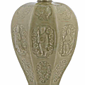 A rare Longquan celadon-glazed 'eight immortals' baluster vase, meiping, Yuan Dynasty