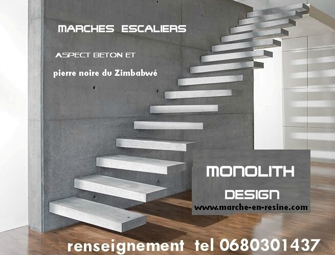 marches d 39 escalier en beton cir decoupe de marches d. Black Bedroom Furniture Sets. Home Design Ideas