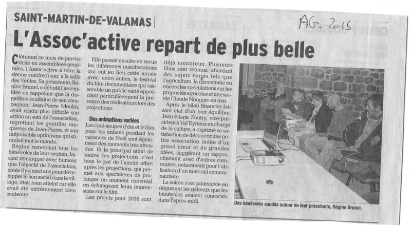 article dauphiné sur AG 2016 assoc'active