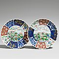 Two famille verte saucer-shaped imari dishes, kangxi period (1662-1722)