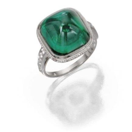 Platinum__Emerald_and_Diamond_Ring