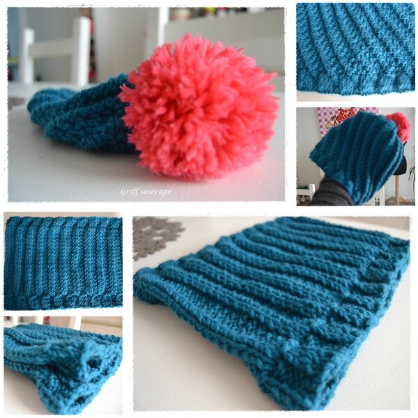 bonnet et snood bleu canard2