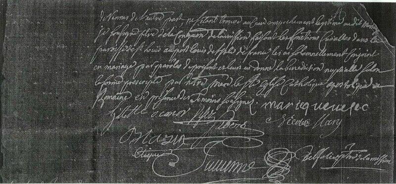 11 novembre 1743 mariage de Marie Quevelec et Nicolas Mary 2 sur 2