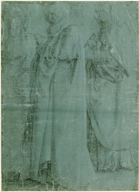 durer+vierge entre deux saintes femmes+papier préparé vert