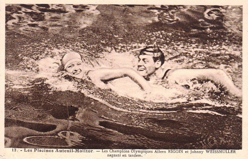 CPA JO Paris Aileen Riggin Johnny Weissmuller Paris 1924