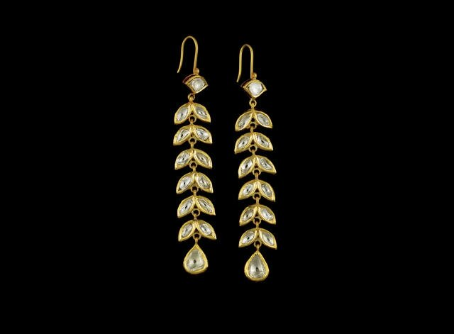 A pair of Indian diamond-set pendent earrings