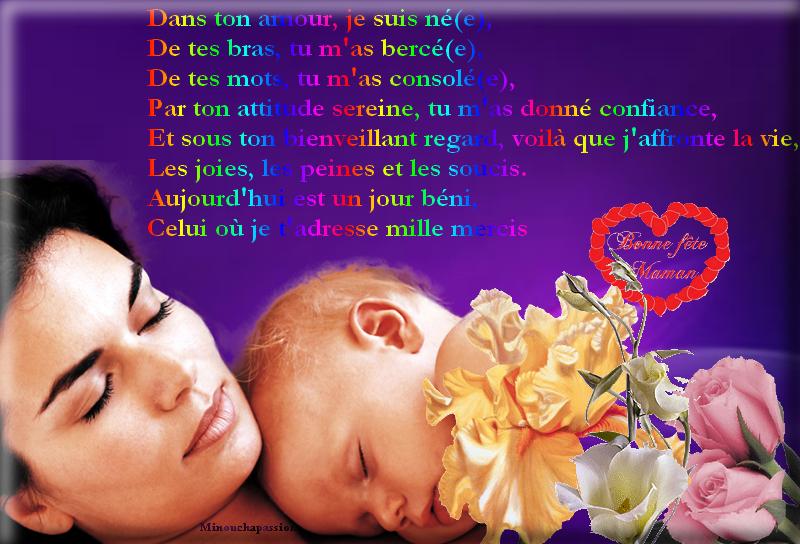 Poème pour les mamans sur une de mes création