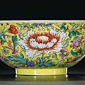 A fine yellow-ground famille-rose bowl. seal mark and period of daoguang