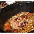 Rôti de porc , flageolets à la mijoteuse