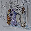 Maroc / morocco (4) croquis de scènes de rue / sketches of street life