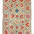 Suzani. ouzbékistan, asie centrale, début du xixe siècle