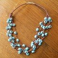 Collier marron/turquoise muti-rangs