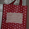 10. sac pliable rouge pois et rayures - ouvert