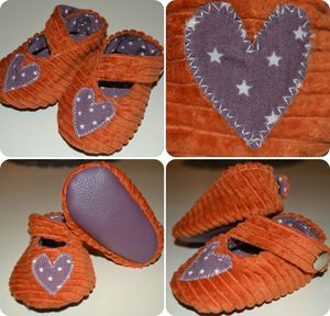 chaussons orange et violet1
