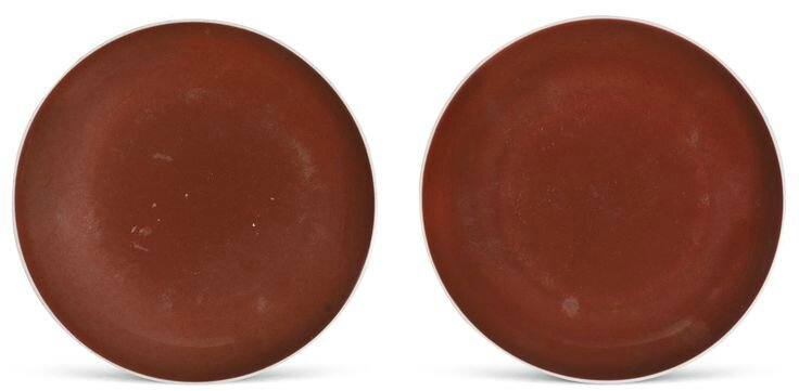 A pair of copper-red glazed dishes, Yongzheng marks and period