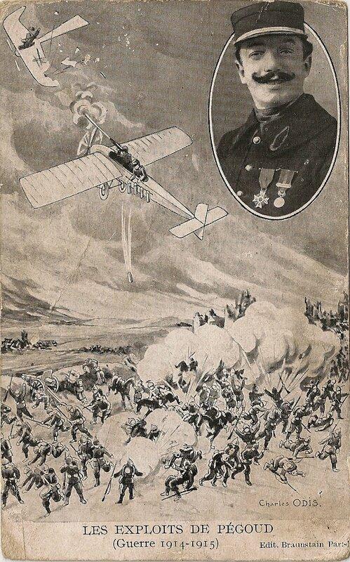 CPA Aviateur Pégoud Combat