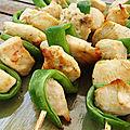 Brochettes de poulet aux pois gourmands