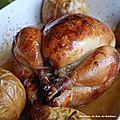 Volaille marinée au sel de guérande et au cidre, pommes cuites au calvados
