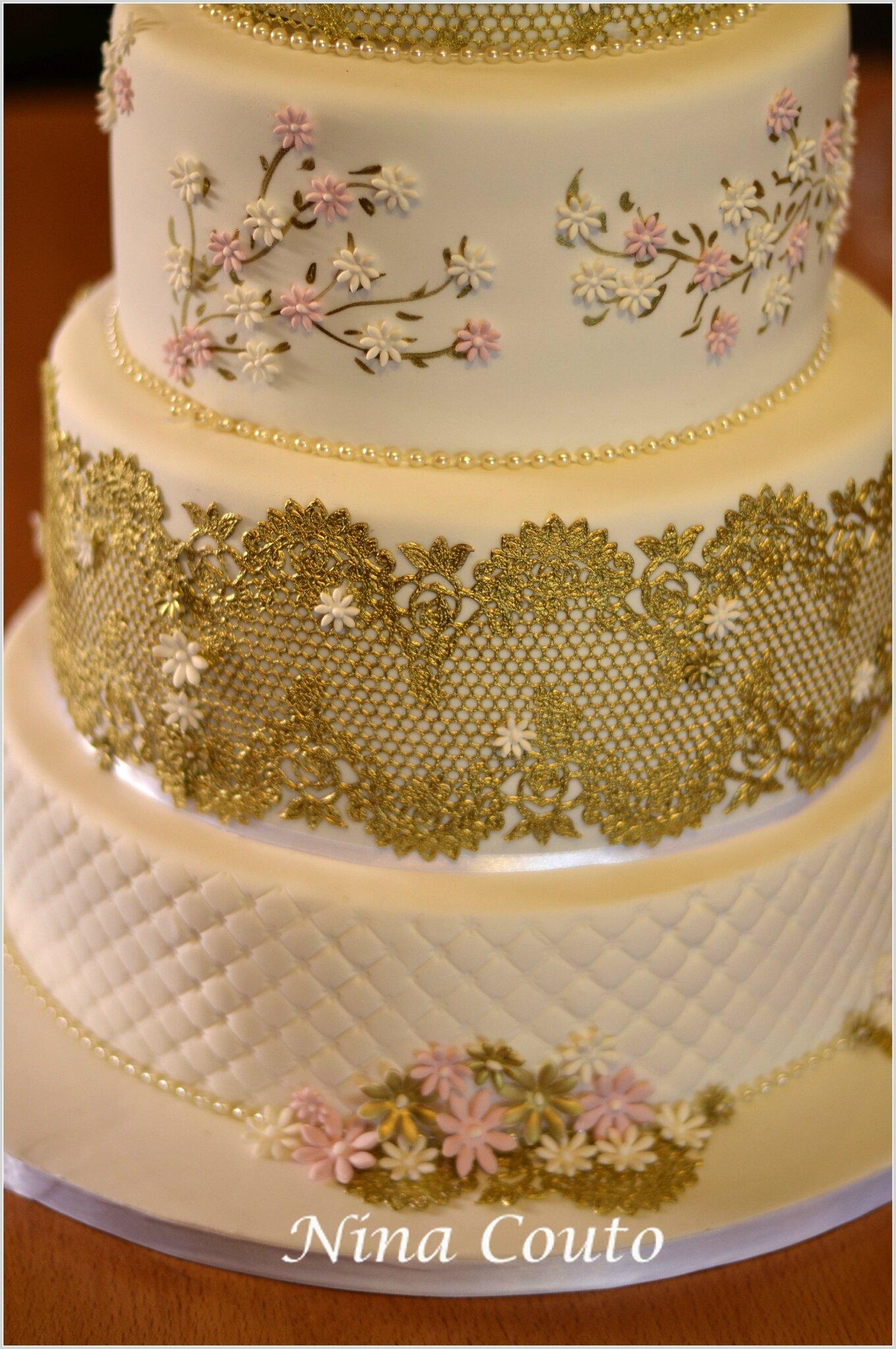 gateau mariage blanc doré nina couto 2