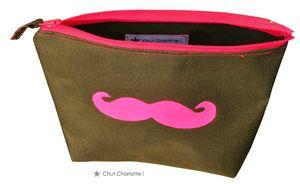 Trousse moustache rose fluo (3)