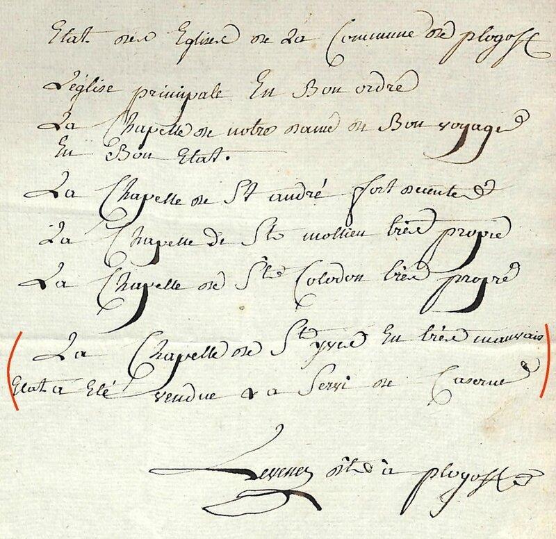 Ch30 - Liste des édifices religieux de Plogoff sous l'Empire en 1806