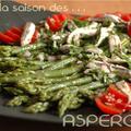 Salade asperge verte, tomate, oignon rouge & anchois marine