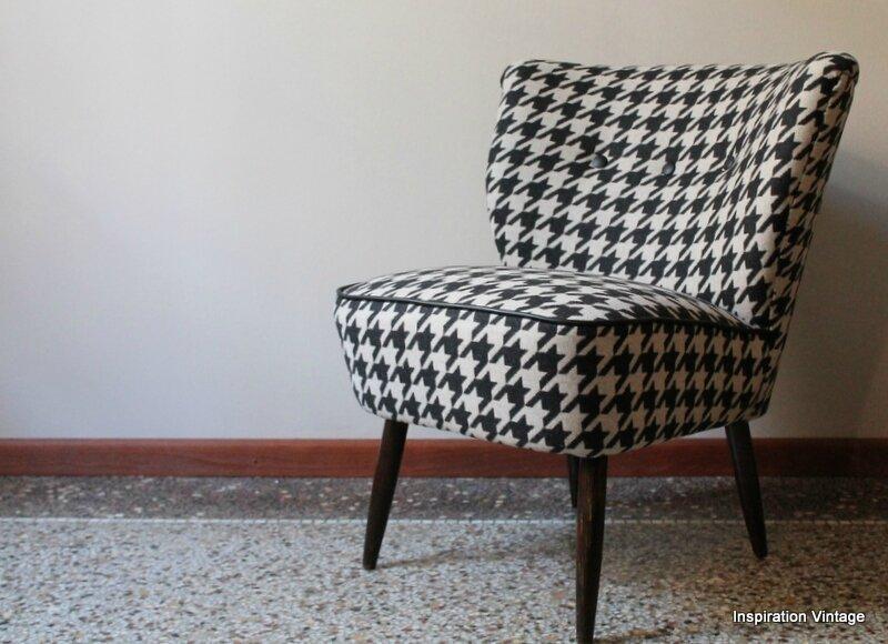 fauteuil cocktail 50 39 s beige noir inspiration vintage. Black Bedroom Furniture Sets. Home Design Ideas