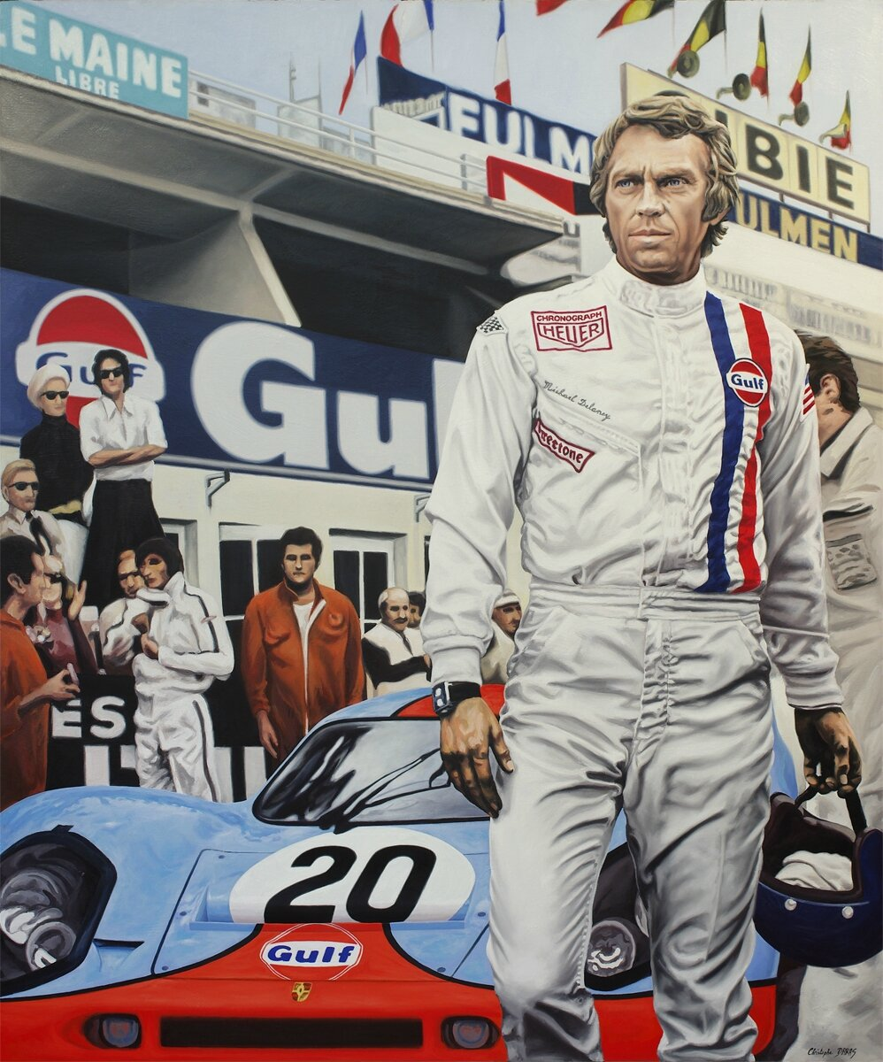 steve mcqueen le mans 1970 christophe daras artiste peintre. Black Bedroom Furniture Sets. Home Design Ideas