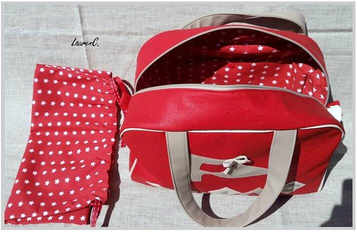 SAC SWING ROUGE BEIGE INTERIEUR+ POCHON