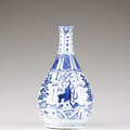 A Kraak blue and white bottle vase, Ming Dynasty, Wanli Period (1572-1620). Photo VERITAS ART AUCTIONEERS