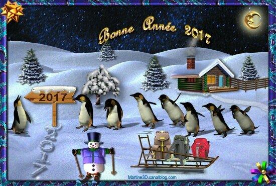 022-carte-bonne-annee-2017-pingouins-montagne-sapins-bonhomme-neige