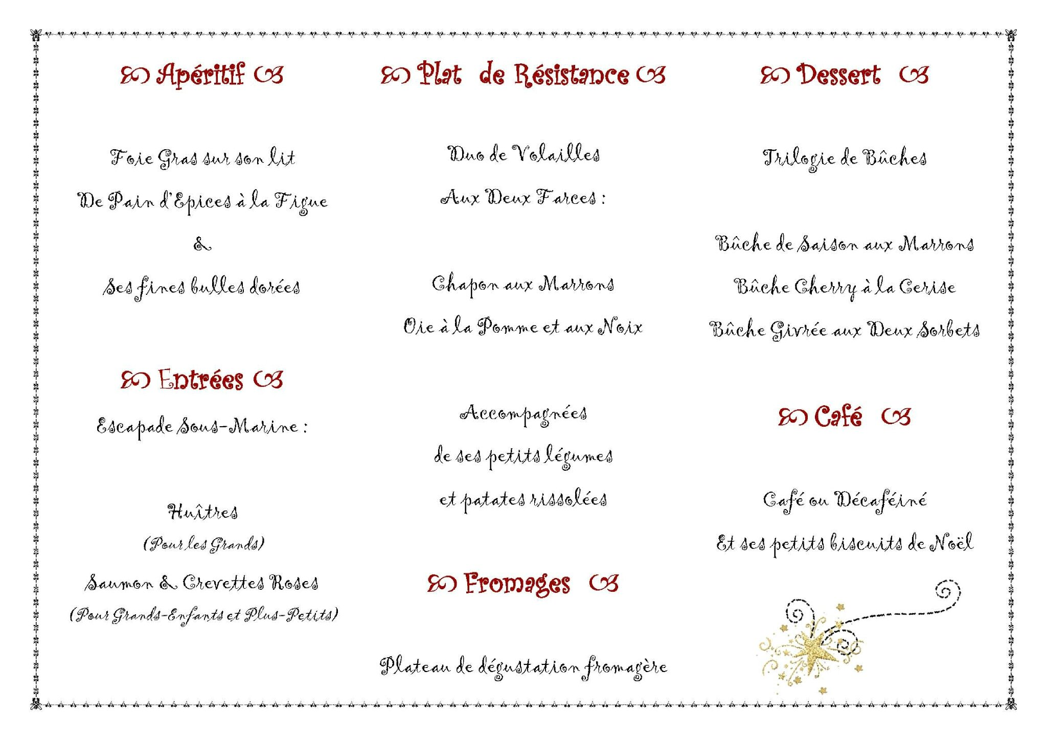Menu de no l a chacun le sien l 39 atelier de leenah for Idee menu original