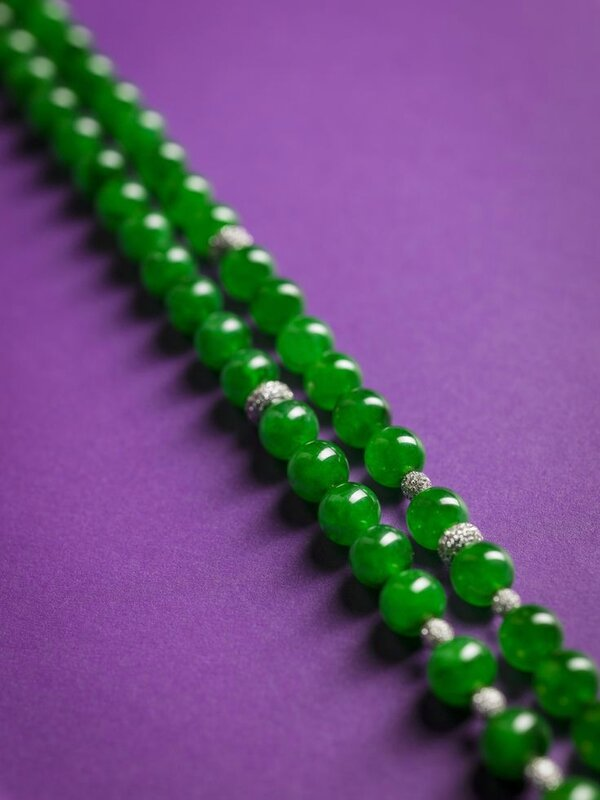 An important jadeite and diamond bead necklace