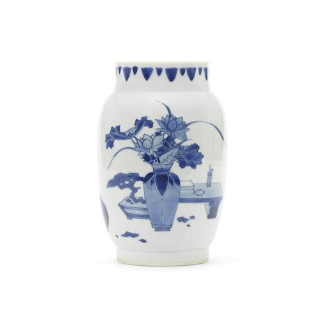 A blue and white ovoid jar, Chongzhen
