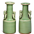 A pair of small Chinese celadon-glazed mallet vases, Ming dynasty (1368-1644)