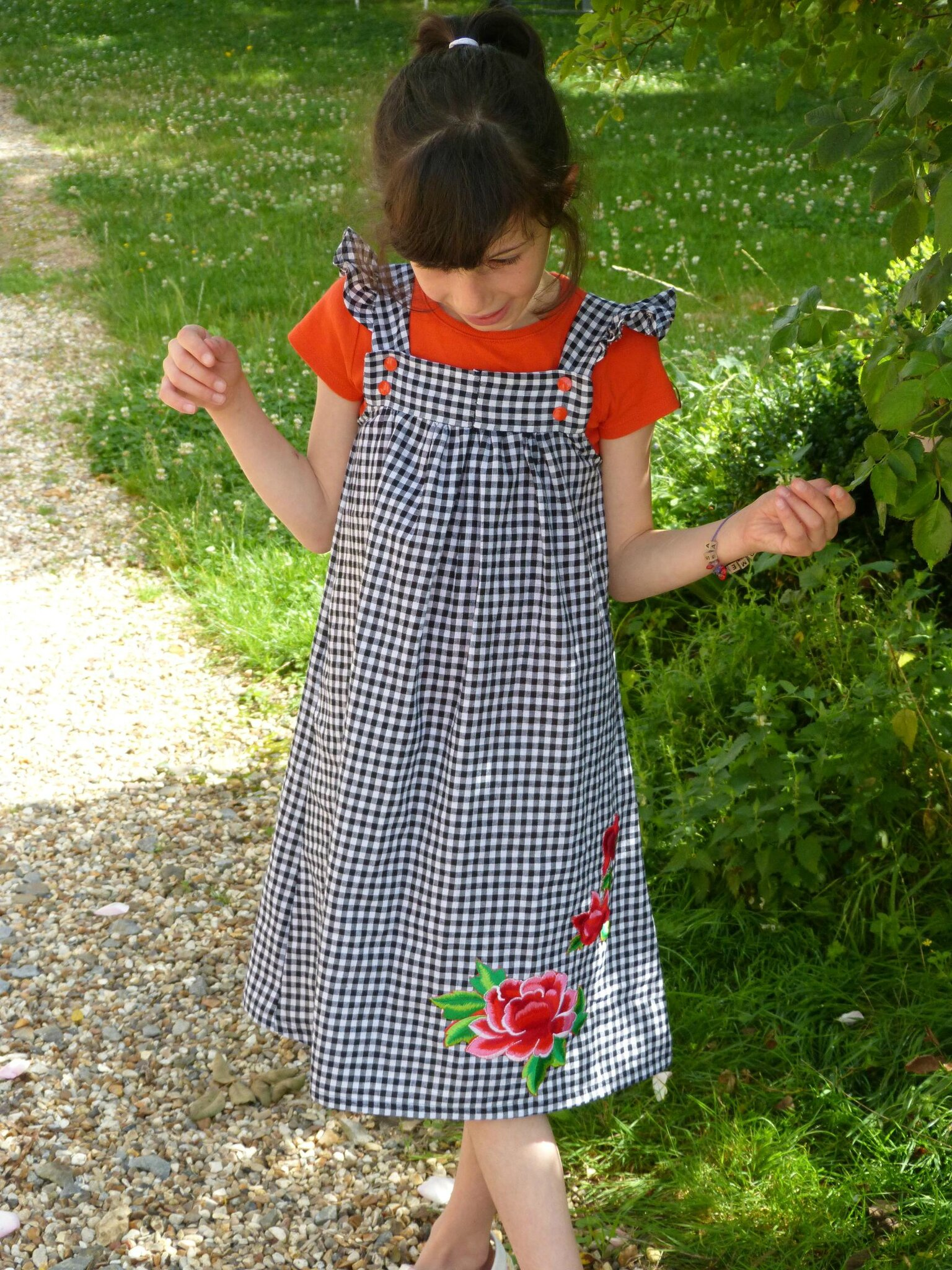 Robe fille vichy rouge