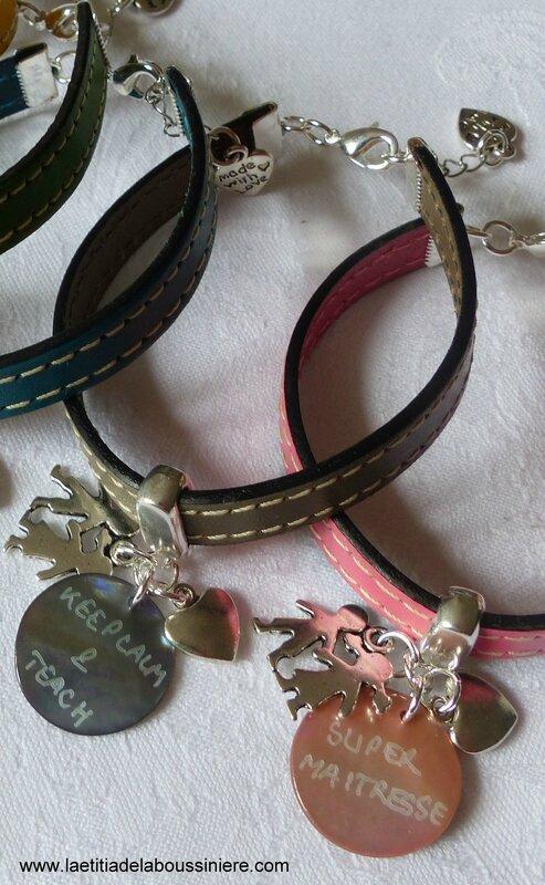 Bracelet de maîtresse, de nounou, de bbsitter (cuir) - 22 €