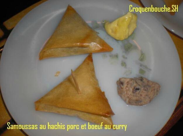 Samossas au hachis porc et boeuf curry