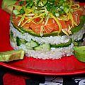 Mini sushi cake au saumon, mangue verte et gingembre-mangue