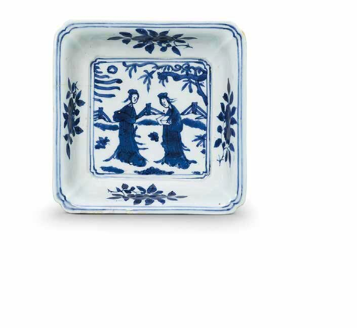 A rare blue and white square dish, Longqing four-character seal mark in underglaze blue within double squares and of the period