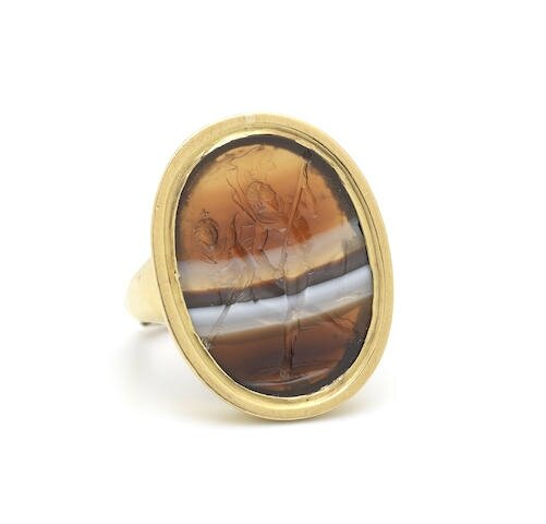 A banded agate intaglio ring, by Nathaniel Marchant, 1772-88