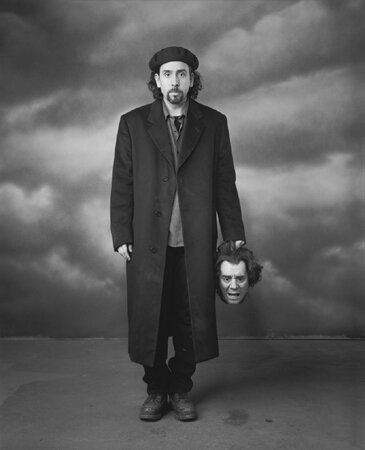 Tim Burton with the Severed Head of Jonathan Masbath Shepperton Studios Sleepy Hollow Surrey England 1999