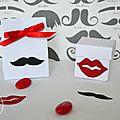 Ballotin dragées mariage thème moustache et bouche