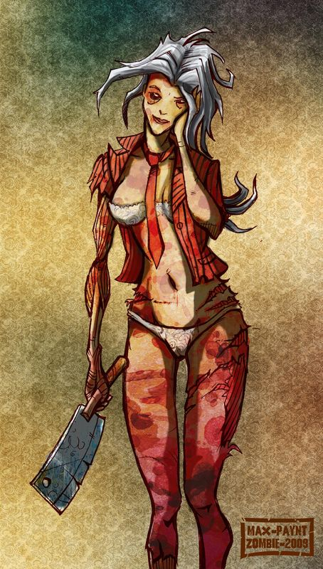 Zombie mais sexy mort vivant pin up hachoir dead girl blood true