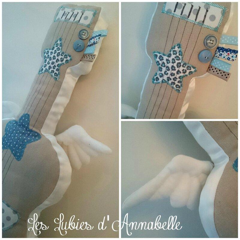 guitare tissuange bleu