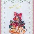 Carte Brodée 3D Cloches et oiseau Meilleurs Vœux