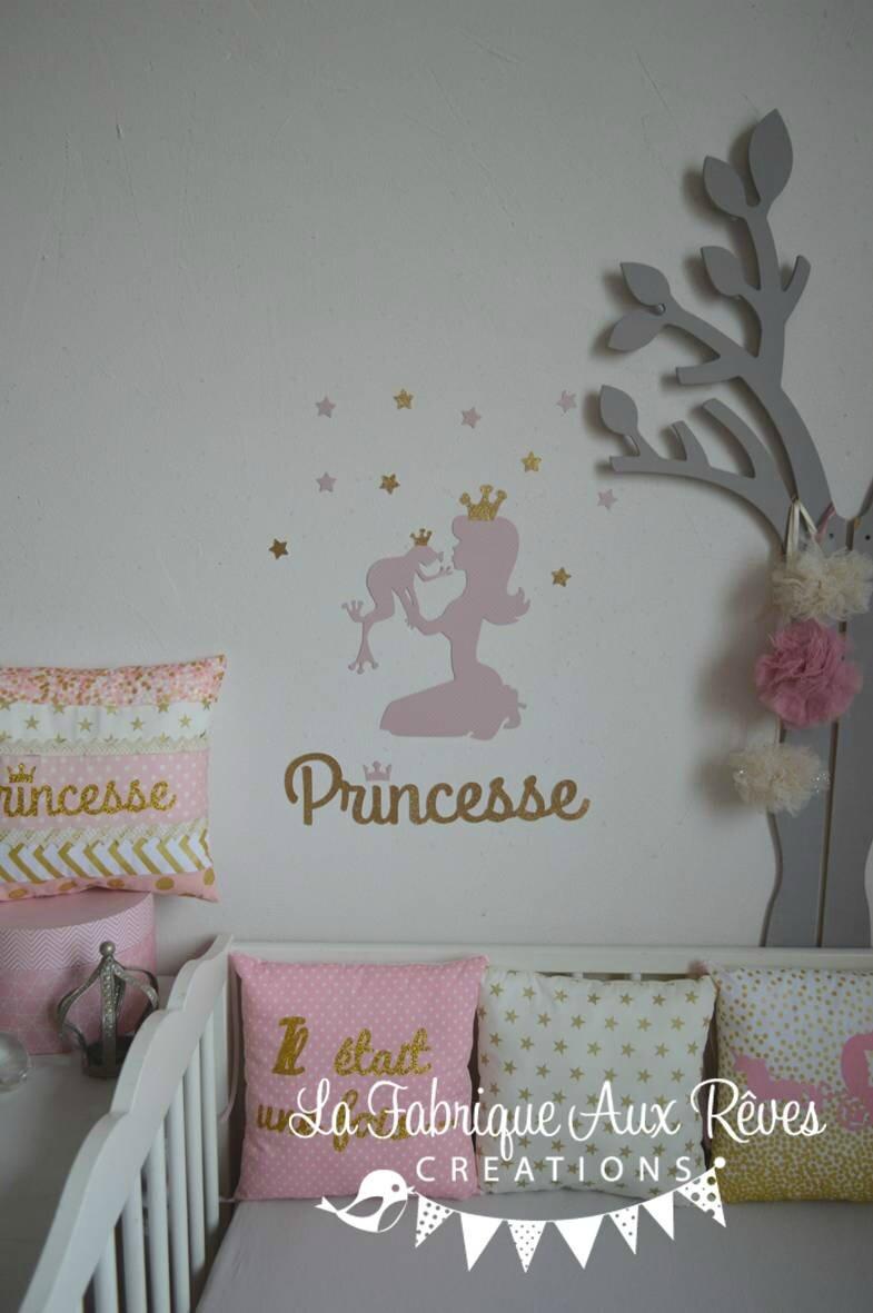 Stickers princesse grenouille rose dor d coration - Chambre princesse bebe ...