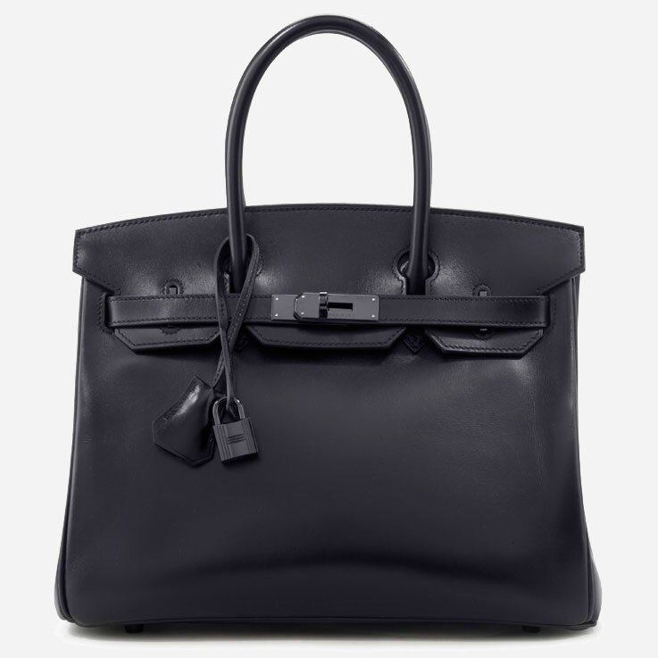 Hermès Limited Edition 30cm Black Calfbox So Black Birkin Bag,