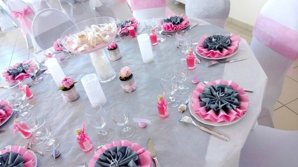 mariage rose gris blanc deco table originale real wedding géraldine brice